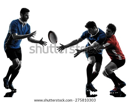 one caucasian rugby men players  in studio  silhouette isolated on white background - stock photo