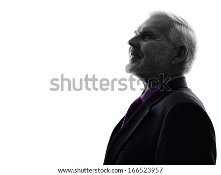 One Caucasian Senior Business Man Silhouette White Background - stock photo