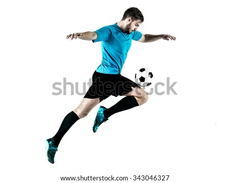 one caucasian Soccer player Man isolated on white backgound - stock photo