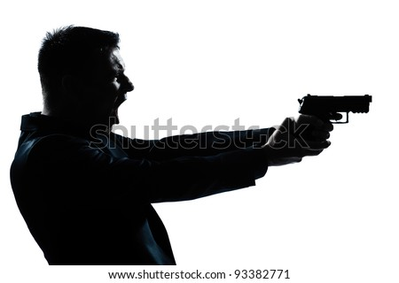 one caucasian spy criminal policeman detective man holding gun portrait silhouette in studio isolated white background - stock photo