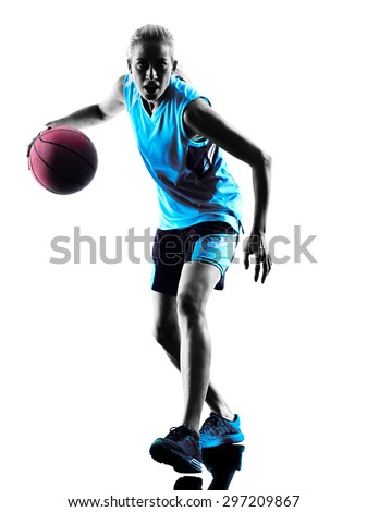 one  caucasian woman basketball player dribbling in silhouette isolated white background - stock photo
