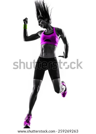 one caucasian woman dancing  exercising  fitness in studio silhouette isolated on white background - stock photo