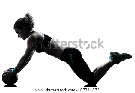 one caucasian woman exercising fitness ball workout posture in silhouette studio isolated on white background - stock photo