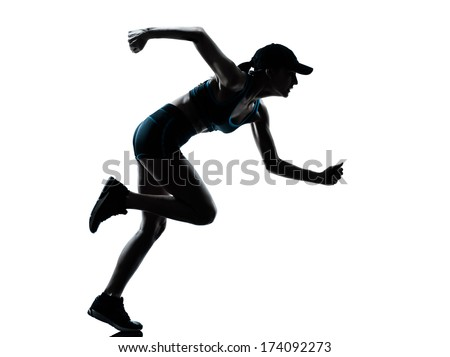 one caucasian woman runner jogger in silhouette studio isolated on white background - stock photo