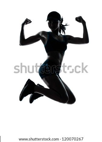 one caucasian woman runner jogger jumping powerful in silhouette studio isolated on white background - stock photo