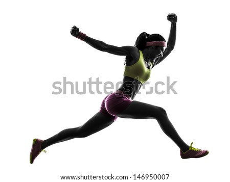 one caucasian woman runner running jumping  shouting in silhouette on white background - stock photo