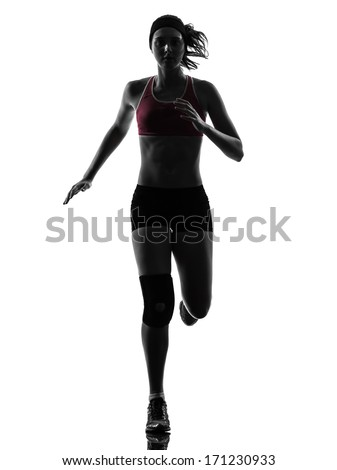 one caucasian woman runner running marathon in silhouette studio isolated on white background - stock photo