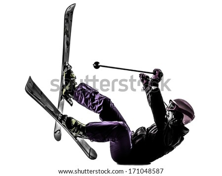 one caucasian woman skier skiing falling in silhouette on white background - stock photo