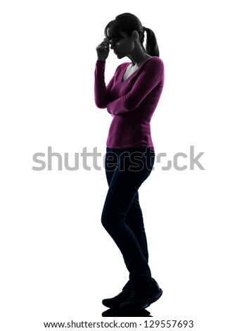 one caucasian woman thinking sadness in full length silhouette studio isolated on white background - stock photo