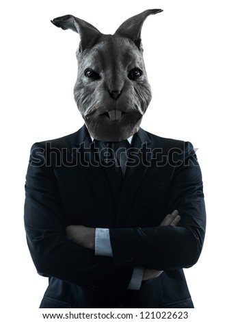 one causasian man rabbit mask  portrait in silhouette studio isolated on white background - stock photo