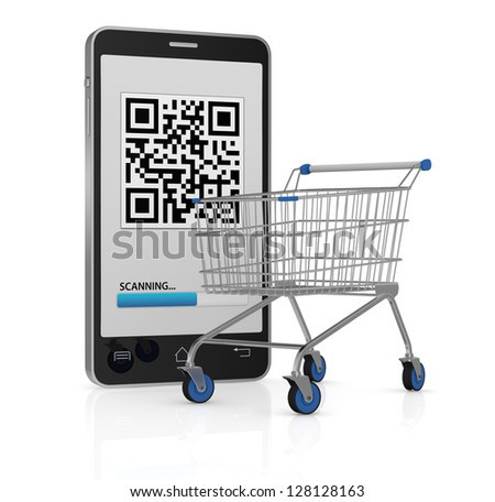 one cell phone with a qr code on display and a shopping cart (3d render) - stock photo