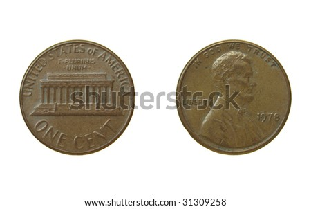 One Cent coin isolated over a white background - stock photo