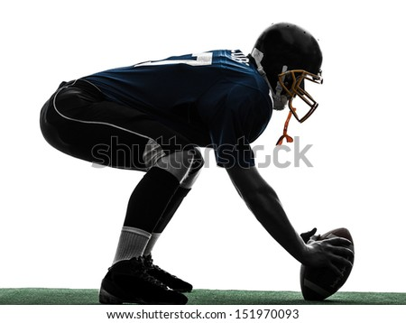 one center  american football player man in silhouette studio isolated on white background - stock photo