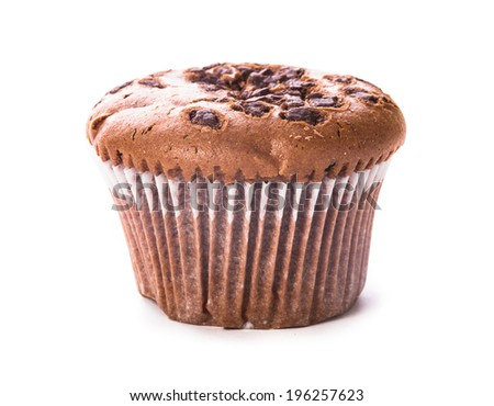 One chocolate muffin isolated isolated on white - stock photo