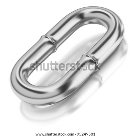 One chrome chain link on white background - stock photo