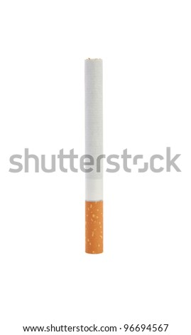 One cigarette. Isolate on white background - stock photo