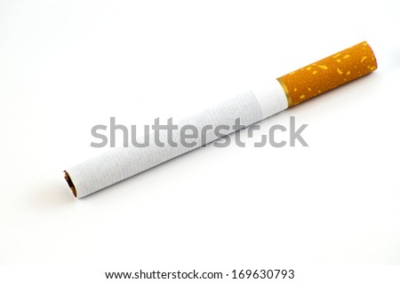 One cigarette on a white background isolated - stock photo