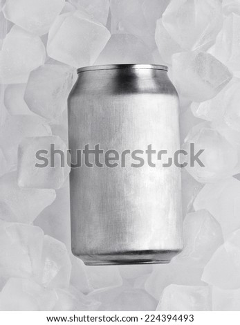 one clean tin on the background of ice cubes - stock photo