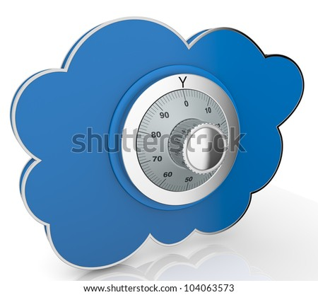 one cloud with a safe lock (3d render) - stock photo