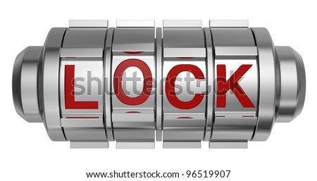 one combination lock with the word: lock (3d render) - stock photo