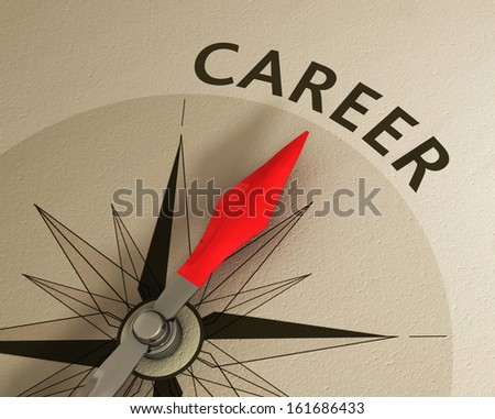One compass needle pointing the word career, image suitable for career opportunities management. - stock photo