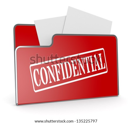 one computer folder with text: confidential (3d render) - stock photo
