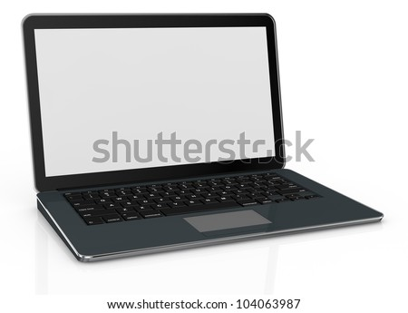 one computer notebook with a blank screen (3d render) - stock photo