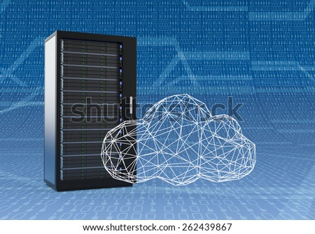 one computer server cabinet with a cloud made with the technique of wireframe modeling, blue background with binary numbers (3d render) - stock photo