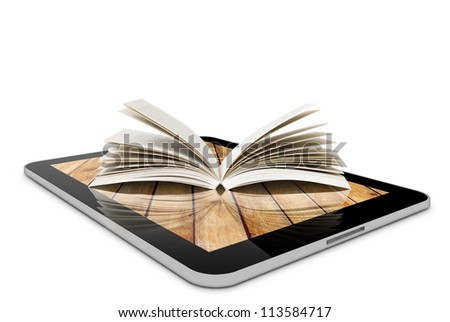 one computer tablet pc and book isolated on white background (render) - stock photo