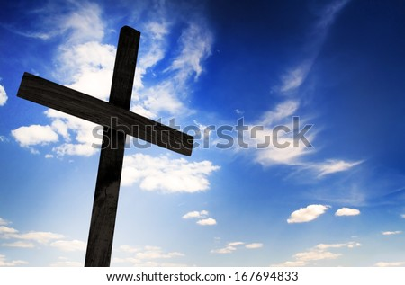 One cross on sky background  - stock photo