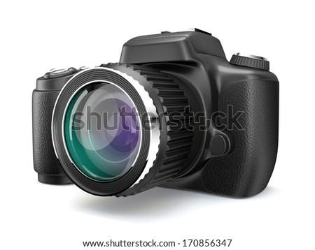 One 3D Photo camera on white isolated background. - stock photo