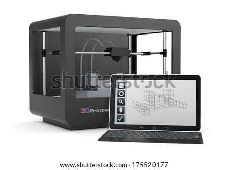 one 3d printer with a computer and a cad software (render) - stock photo