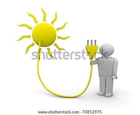 one 3d render of the sun with an electrical plug carried by a man - stock photo