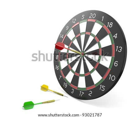 One dart hit the center of board and two missed, isolated on white background - stock photo