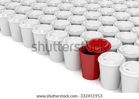 One different coffee cup in multiple rows of plastic coffee cups - stock photo