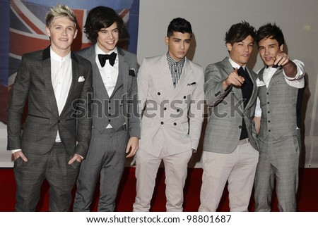 One Direction arriving for the Brit Awards 2012 at the O2 arena, Greenwich, London. 21/02/2012 Picture by: Steve Vas / Featureflash - stock photo
