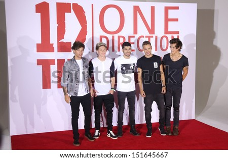 One Direction, Harry Styles, Niall Horan, Liam Payne, Louis Tomlinson, Zayn Malik at the One Direction This is Us film - press conference, London. 19/08/2013 - stock photo