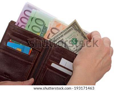 One dollar and wallet with euro banknotes isolated on white background - stock photo