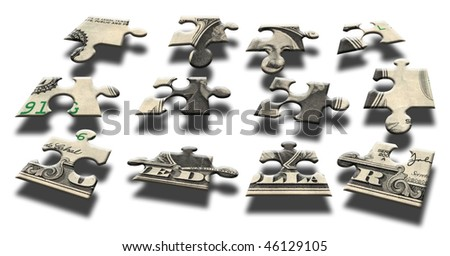 One Dollar Banknote Puzzle - stock photo