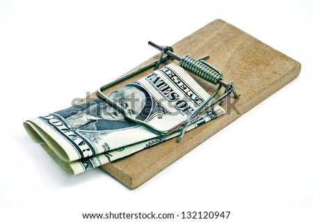 one dollar bill in a mousetrap on a white background - stock photo
