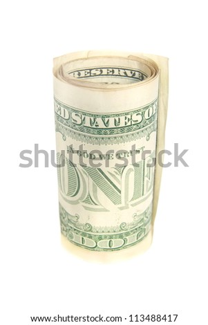 One dollar bill roll isolated, One word - stock photo