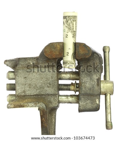 One dollar billed squeezed tightly in a bench vice - stock photo