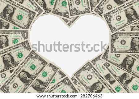 One dollar bills in the shape of a heart isolated on white background, The love of money - stock photo
