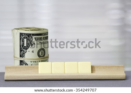 One dollar Copy Space for four letters - stock photo
