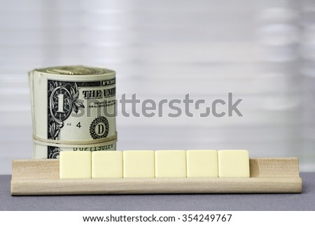 One dollar Copy Space for six letters - stock photo