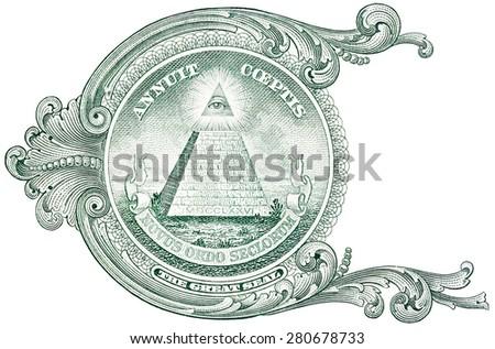 One dollar detail pyramid. - stock photo