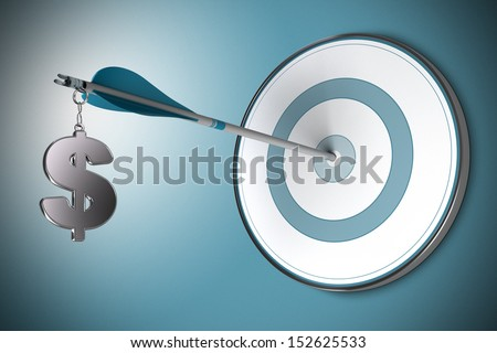 One dollar symbol fixed on an arrow. Conceptual image suitable for financial investment in dollars, asset management or investment advisory. - stock photo