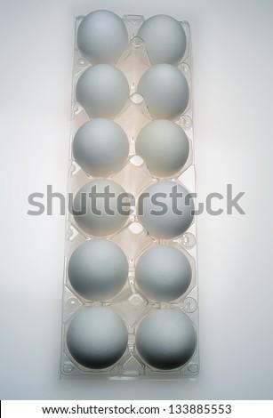 one dozen eggs in carton - stock photo