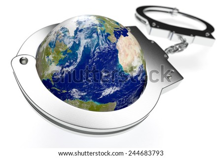 one earth globe with handcuffs, concept of lack of freedom or oppression (3d render) - Elements of this image furnished by NASA - stock photo