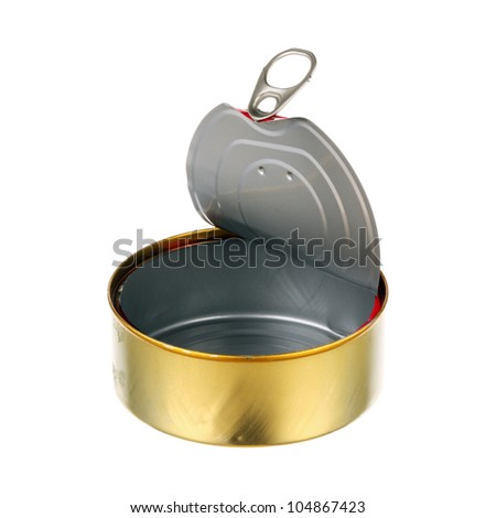 One empty can isolated over white background - stock photo
